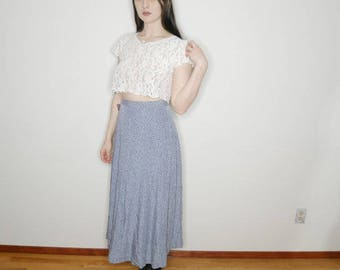 90s baby blue and cream floral rayon maxi skirt 26 in waist