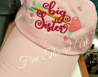 KIDS Big Sister Little Sister Baseball Cap Hat Leather Strap Dad Hat Youth Child Girl Children Baby Announcement Pregnancy Announcement