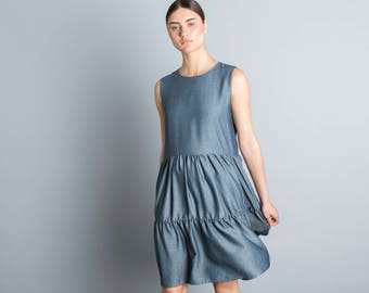 Denim blue  summer dress, knee length floors dress, elegant party dress, loose fit dress, sleeveless sundress, scoop neck, bridesmaid dress