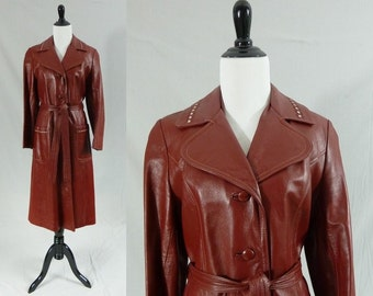 70s Leather Trench Coat - Deep Burgundy Red - White Trim - Vintage 1970s - S M