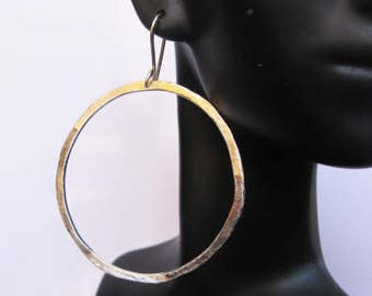 Gold Hoop Earrings Silver Hoop Earring Boho Earring Black Silver Gold Earrings Large Hoop Earring Tribal Earrings Ombre Hammered Silver