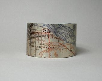 Grand Haven Michigan Cuff Bracelet Unique Gift for Men or Women