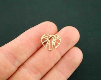 4 Origami Elephant Connector Charms Gold Tone Unique Back Loops - GC1001
