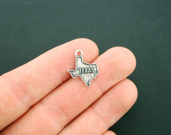 4 Texas Charms Antique Silver Tone 2 Sided State Charm - SC6352