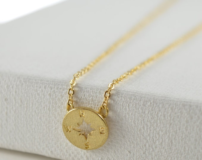 Compass Necklace, Graduation Gift Necklace, Dainty Compass Necklace, Gold Compass Necklace, Simple Minimalist Necklace, Bon Voyage Necklace