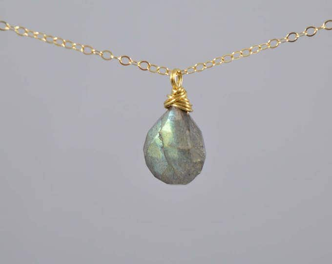 Labradorite Necklace, Blue Flash Labradorite, Labradorite necklace, Labradorite Gold Necklace, Delicate Labradorite Teardrop Necklace