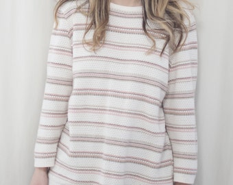 vintage pink and beige and white sweater, small