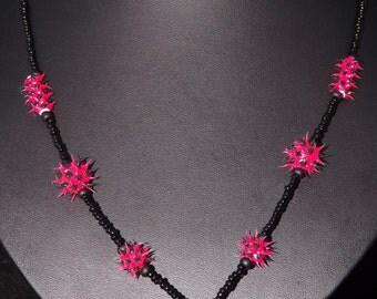Spiky beaded necklace, Festival necklace, spiky bead,Cyberpunk, cyberpunk necklace, spiky necklace