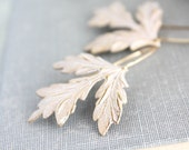 White Patina Leaf Earrings Modern Woodland Wedding Unique Dangle Nature Jewelry Gift for Women Gold and White Leaves Bohemian Boho Chic