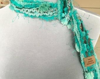 Teal, Blue & Green Scrappy Necklace Scarf - Ocean Breeze - Handmade