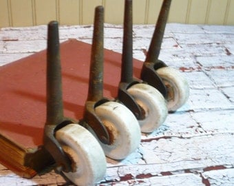 Cast Iron/Porcelain Casters, Factory Salvage set of 4, Steampunk Craft Supplies, Vintage Industrial