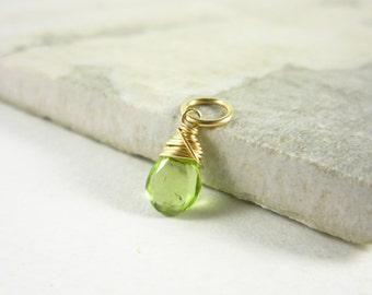 Genuine Gemstone Peridot Gemstone - 14k Gold Charms - Wire Wrapped Jewelry Handmade - Peridot Birthstone Charm - August Birthstone Jewelry
