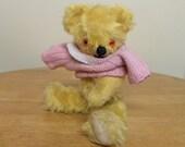 """Vintage Bear - 13"""" Mohair Bear - 1960's Teddy Bear - Squeaking Teddy - Bear with Squeaker"""