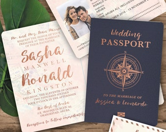 Passport Invitation Set - Compass Rose Gold Watercolor Destination Wedding  - Do NOT purchase this listing, see details to order