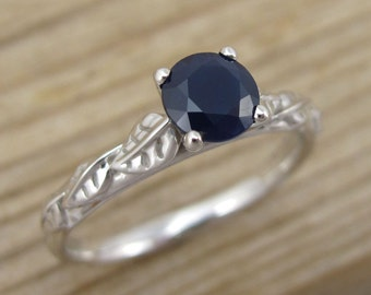 Sapphire Engagement Ring, Leaves Engagement Ring, Antique Engagement Ring, Leaf Sapphire Ring, Antique Ring, Blue Stone Engagement Ring