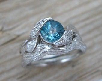 Leaf Wedding Set, Leaf Engagement Ring Set, 18k Leaves Wedding Set, London Blue Topaz Engagement Ring Set, Twig Leaf Engagement Ring Set