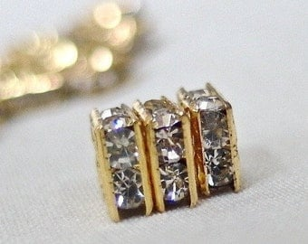 20pc - A Grade Rhinestone 6mm Gold Plated Square Squaredelle Rondelle Spacer Beads, pkg 20