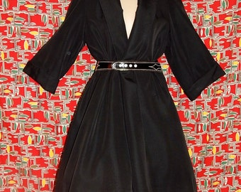 Elegant vintage 50s black textured coat large collar princess new look bombshell jacket trench 3/4 sleeves - S / M / L
