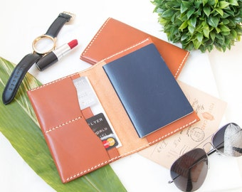TWO Leather Passport Cover Personalize, Leather Passport Holder Custom,Leather Wedding Gift Monogram,Travel Wallet, Mr and Mrs Passport Case