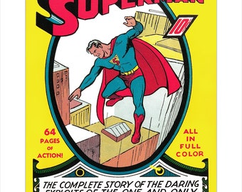 Superman Comic Book Cover art print - Superman #1  - The first issue of Superman - Superhero poster art - DC Comic book art poster