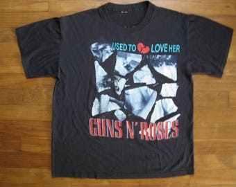 1989 Rare Vintage Original Guns N Roses Band Shirt / Used to Love Her / Rock / Band Tee