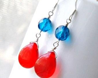 red blue jelly drops beaded dangle earrings, silver earrings, czech glass earrings, french hook earrings,