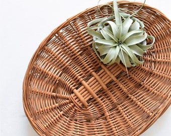 heavy duty large oval woven wicker wood basket table tray