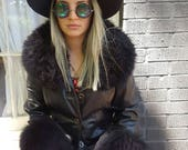black 90s leather penny lane style coat size small size xs great condition faux fur cuffs bohemian hippie hipster cool grunge witchy jacket