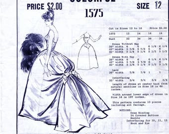 Modes Royale 1575 Vintage 50s Sewing Pattern for Misses' Ball Gown - Unused - Size 12 - Bust 32