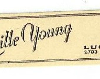 Vintage Lucille Young Nail Enamel Cosmetic Bottle Label, 1930s