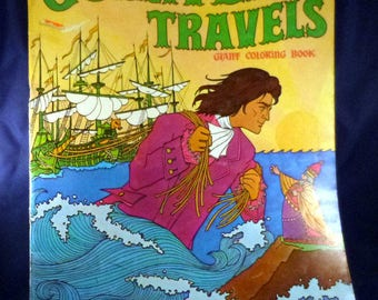 Vintage Gulliver's Travels Giant Coloring Book, 1975 (9 pages used)