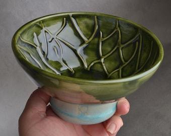 Shaving Bowl Ready To Green Random Lines Shaving Bowl by Symmetrical Pottery