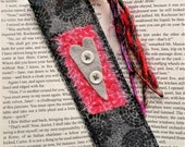 RESERVED FOR VICKI -Fabric Bookmark with Silk Yarn Tassel - Heart Motif Bookmark - Grey and Red Bookmark  - Booklovers Gift