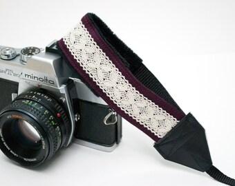 Camera Wrist Strap - Lace Camera Strap - Padded Camera Strap - Photographer Gift - DSLR Camera Strap - Nikon Strap - Plum Linen and Lace
