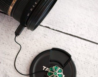 Lens Cap Holder - Camera Accessories - DSLR Camera - Photographer Gift- Digital Camera -  Lens Cap Leash - Teardrop Crystals in Jade