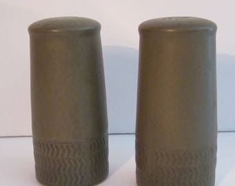 Denby Chevron Pottery Salt and Pepper Shakers -  Sage Green Camelot English Stoneware