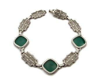 14K White Gold Chrysoprase Bracelet, Art Deco, Filigree Bracelet, Estate Jewelry, Antique Bracelet, Emerald Green, 7 Inches, Embossed Gold