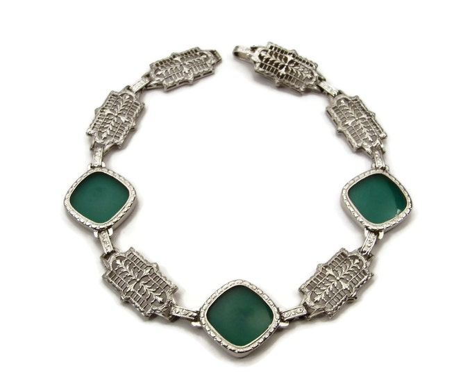 Antique Art Deco Filigree Bracelet 14K White Gold Chrysoprase Bracelet