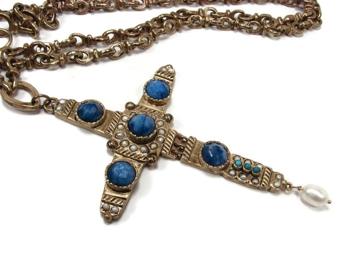 MUZE by GYPSY Byzantium Cross Necklace with Turquoise Sodalite Pearls, Bronze Cross, Renaissance Jewelry, Cross Pendant, Long Necklace