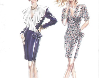 New Look 6960 Misses 90s Mock Wrap Dress with Contrast Collar Sewing Pattern Size 6 to 16 Bust 30 1/2 to 38