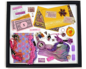 Collection of PINK Found Objects - Use in Your Craft Work - Monopoly Memorabilia, Seed Beads, Costume Jewelry, Hand-Dyed Silk Shibori
