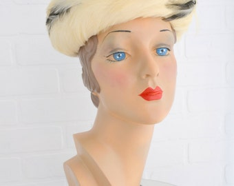 1960s Cream and Black Feather Hat