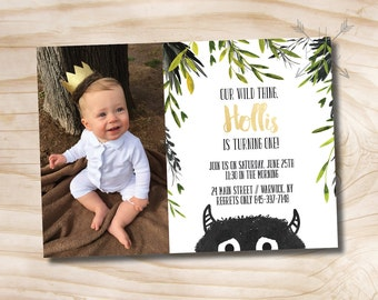 Where the Wild Things Are Birthday Invitation // Let the Wild Rumpus Start // King of Of All Wild Things - Custom PDF or Printed Invitation