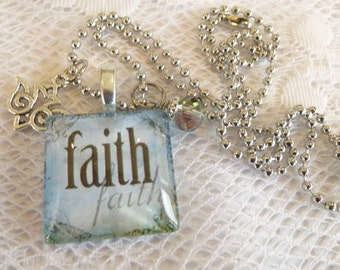 Christian Jewelry Blue Sky Faith Christian Glass Tile Pendant with Dangles and Charm Necklace on Silver Plated Ball Chain