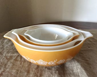 """Complete set of Vintage Pyrex """"Butterfly Gold """" Cinderella Mixing Bowls /  nesting bowls."""