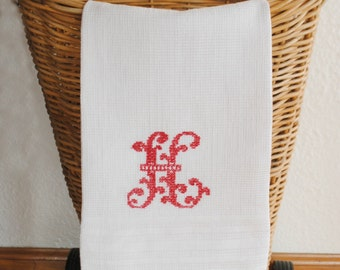 French monogram towel - red and white - H