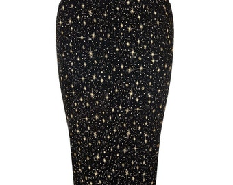 Brand New Black High Waisted Pencil Skirt with Gold Star Print Vintage Style Rockabilly Pin Up