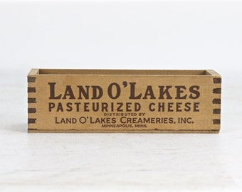 Vintage Cheese Box, Land O' Lakes Cheese Box, Vintage, Land O Lakes Creameries Minneapolis Wood Cheese Box, Cheese Box Vintage, Rustic Decor