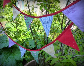 Rainbow Mini Bunting made with upcycled and vintage cotton