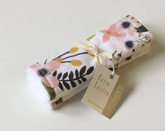 Baby Car Seat Strap Covers - Sprigs and Blooms - Reverses to White Minky, Strap Covers, Blush, Floral Strap Covers